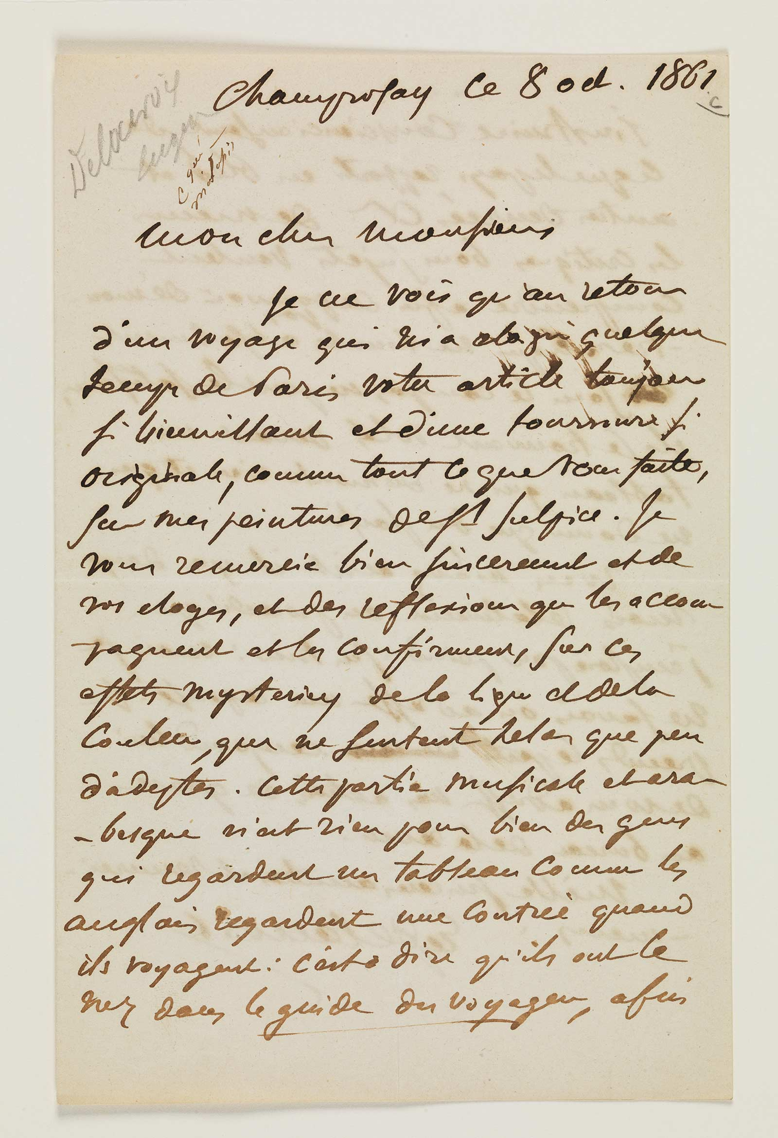 Handwritten letter from Eugène Delacroix to Charles Baudelaire, October 8 1861